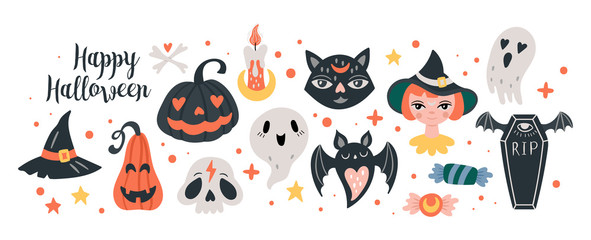 Halloween holiday cute elements set.