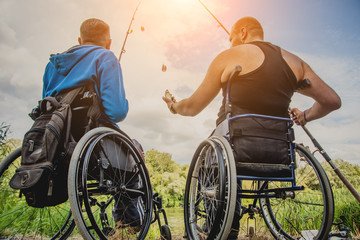 Poster Peche Handicapped men fishing at a lake. Wheelchair. Camping.