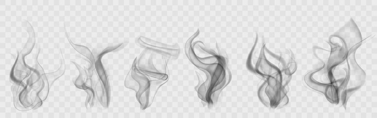 Foto auf AluDibond Rauch Set of realistic transparent smoke or steam in white and gray colors, for use on light background. Transparency only in vector format