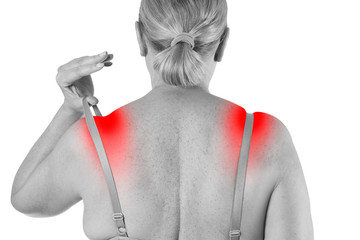 Woman with irritated skin under bra, irritation on the body from underwear isolated on white background