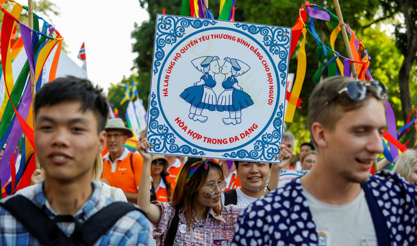 """A participant holds a sign that reads """"The Netherlands supports rights of equality, love for everyone and harmony, in diversity"""" while taking part in the annual LGBT parade in Hanoi"""