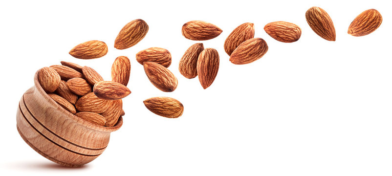 Almond isolated on white background with clipping path