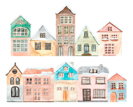 Hand painted watercolor cute house. Isolated on white background. Hand drawn illustration.
