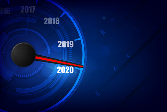New year 2020 car speedometer, red indicator on black blur background