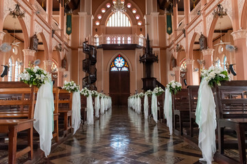 White Bouquet in Chapel or Church for Wedding Ceremonmy Wall mural
