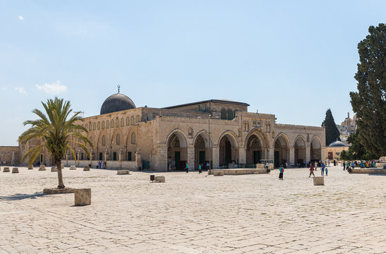 The structure of the Al Aqsa Mosque on the territory of the interior of the Temple Mount in the Old City in Jerusalem, Israel