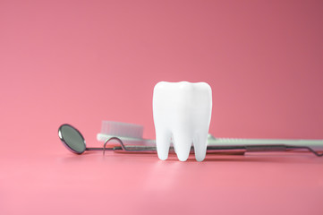 Dental model and dental equipment on pink background, concept image of dental background.
