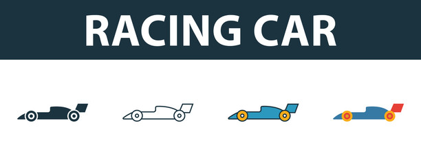 Acrylic Prints F1 Racing Car icon set. Four simple symbols in diferent styles from sport equipment icons collection. Creative racing car icons filled, outline, colored and flat symbols