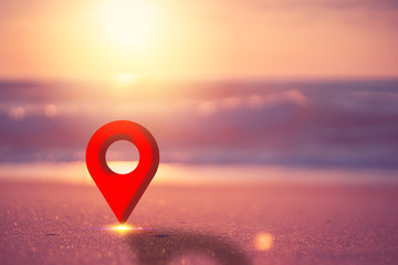 Blur tropical sand beach and sunset sky and cloud background with navigator gps location. Copy space of summer vacation and holiday travel freedom concept. Wall mural