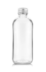 blank packaging transparent glass bottle for beverage or medicament product design mock-up