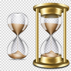 Set of realistic transparent hourglass, isolated on transparent background.