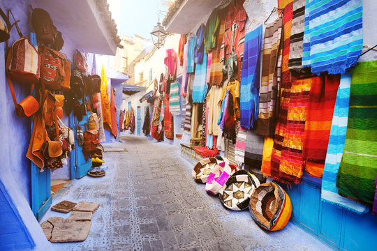 Street market in Chefchaouen, Morocco.