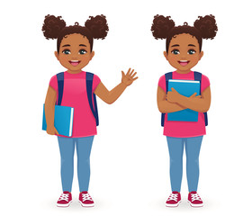 Smiling school girl with book and backpack waving hand isolated vector illustration