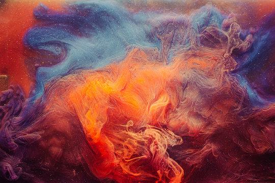 Fume background. Mysterious aura. Orange blue glitter haze.