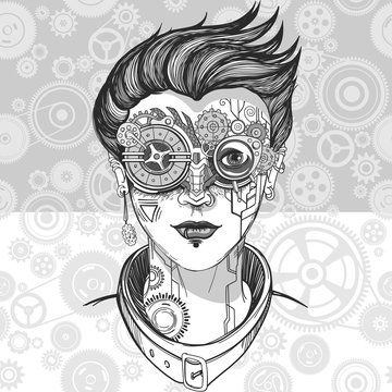steampunk girl illustration