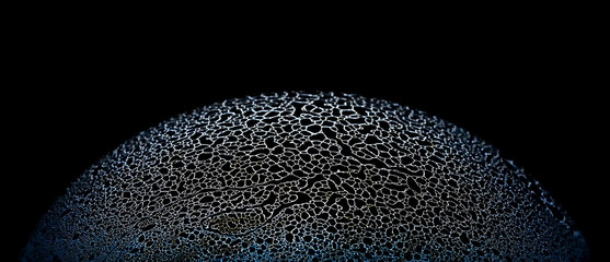 Abstract half soap bubble sponge surface on black background close up picture