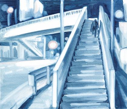 Drawing of lone figure walking up to pedestrian bridge