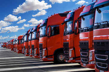 german trucks in formation parking at company loft