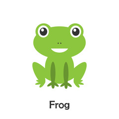 Frog in cartoon style, pond card for kid, preschool activity for children, vector illustration