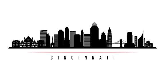 Cincinnati skyline horizontal banner. Black and white silhouette of Cincinnati, Ohio . Vector template for your design.