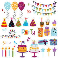 set of isolated Happy Birthday party decorations - vector illustration, eps