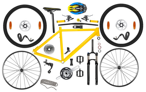 all single parts components of yellow black modern aluminum mountain bike mtb offroad sport bicycle isolated white background