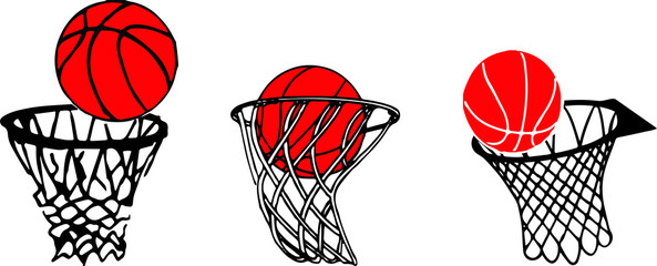 basketball basket and ball sign icon