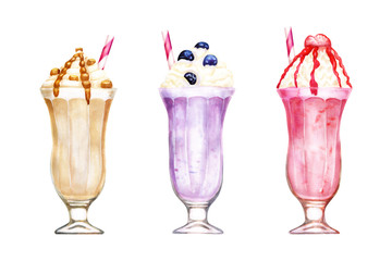 Watercolour set of milkshakes hand drawn illustration isolated on white