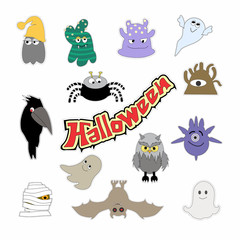 Halloween characters icons and stickers. Colorful cartoon illustration.