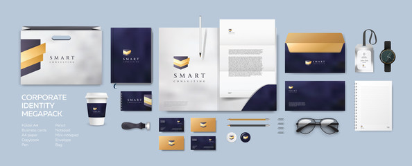 Corporate identity premium branding design. Stationery mockup vector mega pack set. Template for business, consulting, bank or finance company based on modern badge straps and shield logo.