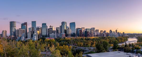 Recess Fitting Canada Skyline panoramic of Calgary, Alberta at sunset.