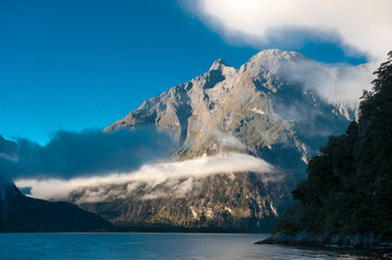 Aluminium Prints Light pink Milford Sound in New Zealand's South Island