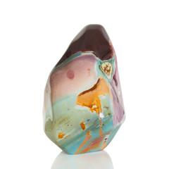 Fototapete - Closeup beautiful colorful jasper a natural gemstone isolated on white background.