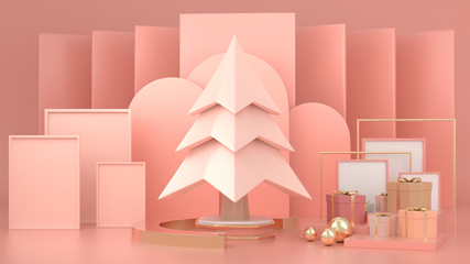 3d render image of abstract geometric shape christmas tree scene concept decoration with copy space.
