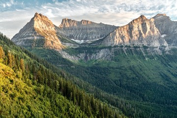 Looking south from Going to the Sun Road towards Mt. Oberlin, Clements Mountain, and Mt. Cannon in Glacier National Park, Montana, USA