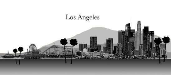 Los Angeles Illustration Black and White