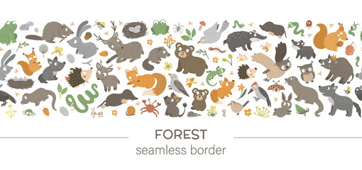 Vector seamless pattern brush with forest animals and elements on white background. Woodland border ornament. Hand drawn flat illustration for children's design.