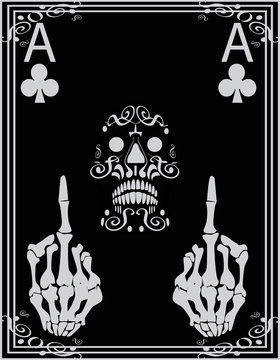 Poker Card with skull icon ornaments  and middle fingers up, Black and White Background