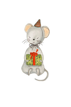 Watercolor illustration of the symbol of 2020. The mouse in the cap with a gift is painted with watercolor paints by hand and is perfect for all types of design and printing.