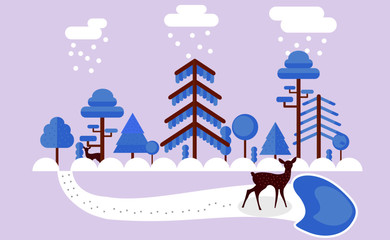 Printed kitchen splashbacks Purple winter season scene in nature with deers and a set of different blue trees and white clouds