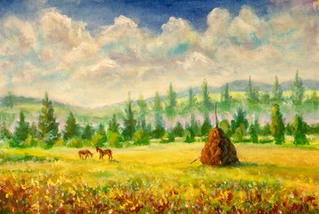 beautiful village rural landscape farm country impressionism plein air painting agriculture fields countryside illustration