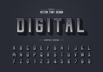 Line font and alphabet vector, Digital modern typeface and letter number design