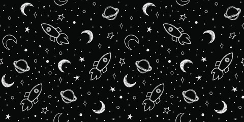 Doodle pattern with night sky Moon, Saturn, rocket and stars seamless background Hand drawn vector illustration