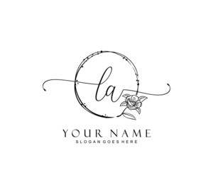 Initial LA beauty monogram and elegant logo design, handwriting logo of initial signature, wedding, fashion, floral and botanical with creative template