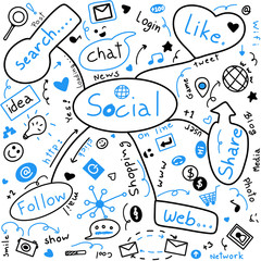 Hand drawing. Seamless blue and black creative image of social network. Doodle style. Modern, Lifestyle. Can be use for fabric, print, paper, banner or advertising.