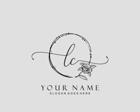 Initial LC beauty monogram and elegant logo design, handwriting logo of initial signature, wedding, fashion, floral and botanical with creative template