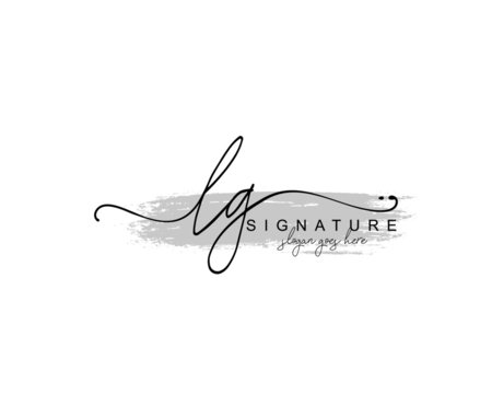 Initial LG beauty monogram and elegant logo design, handwriting logo of initial signature, wedding, fashion, floral and botanical with creative template