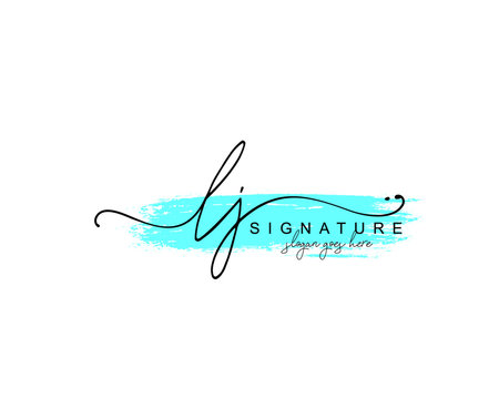 Initial LJ beauty monogram and elegant logo design, handwriting logo of initial signature, wedding, fashion, floral and botanical with creative template