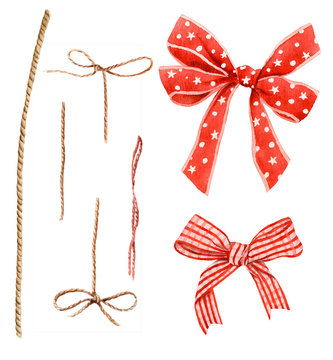 Set of ropes, knots and red bows hand drawn in watercolor isolated on a white background.