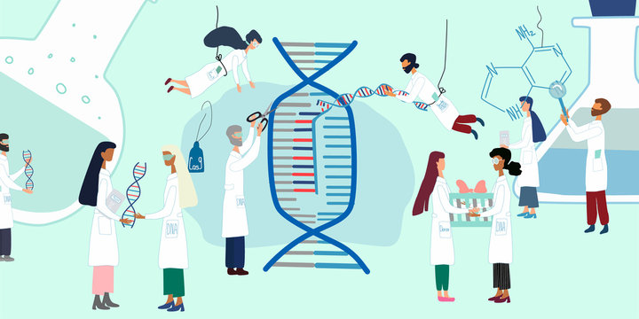 Scientists exploring by human genome project. CRISPR- Cas9. Genome sequencing, research, genetic engineering concept. Big set for  poster, article, banner, advertising